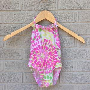 Kate Mack Print Ruffle Halter One-Piece Swimsuit
